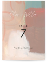 This is a brown table number by Lindsay Megahed called Gallery with standard printing on signature in standard.