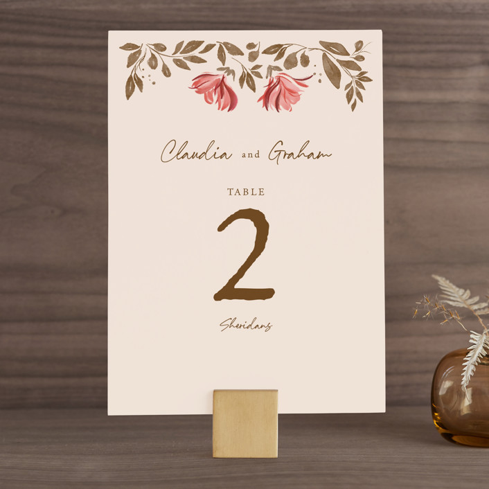 """Painterly Florals"" - Wedding Table Numbers in Scarlet by Vivian Yiwing."