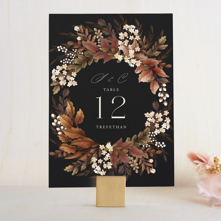 """""""Falling into Love"""" - Wedding Table Numbers in Rustic by Chris Griffith."""