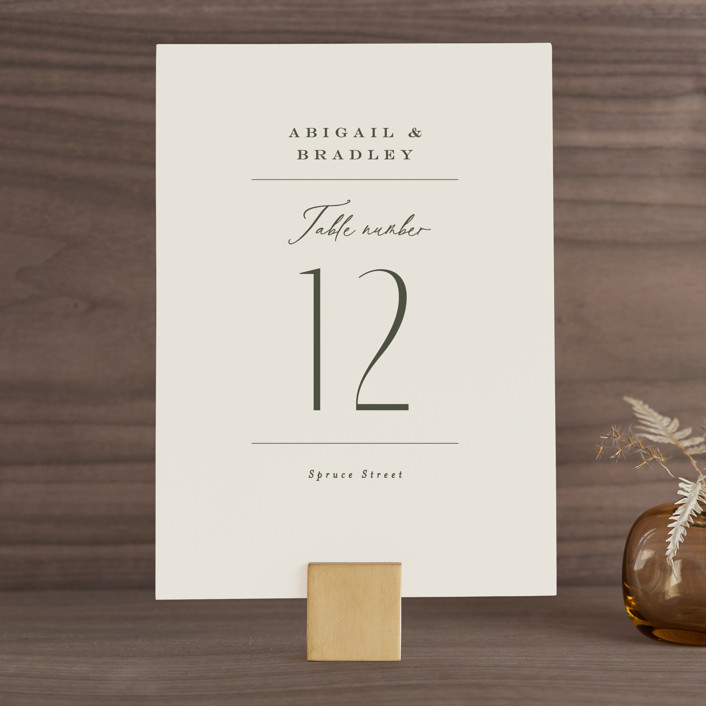 """""""Moderne"""" - Wedding Table Numbers in Graphite by Everett Paper Goods."""