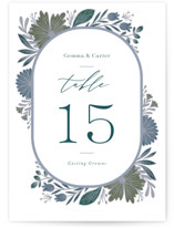 This is a blue table number by Jen Owens called Flourish with standard printing on doublethick in standard.