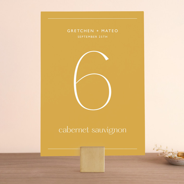 """""""goldfinch"""" - Wedding Table Numbers in Sunshine by Lindsay Stetson Thompson."""