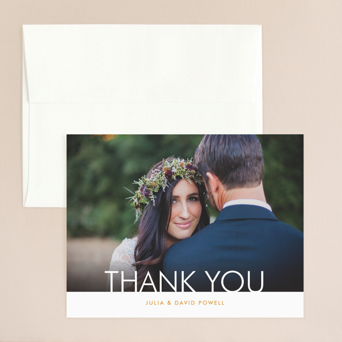 """Minimalist Display"" - Thank You Card in Orange by Coco and Ellie Design."