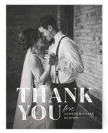 This is a black and white wedding thank you card by Jill Means called Ribbon Border with standard printing on signature in standard.