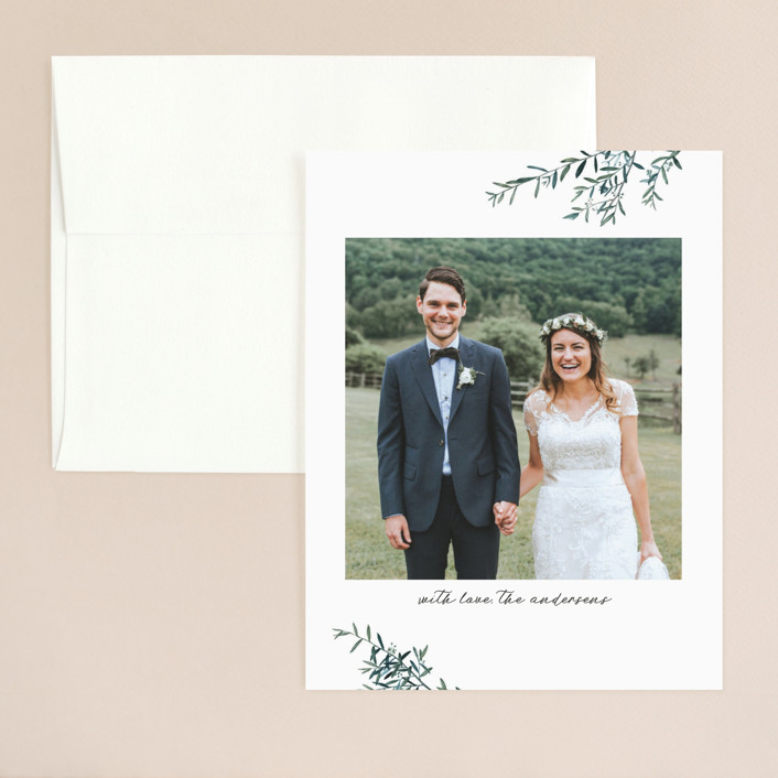 """Fresh Sage"" - Rustic Thank You Card in Olive by Christie Kelly."
