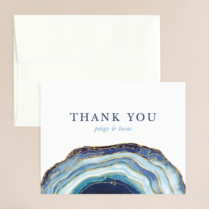 """Gilt Agate"" - Bohemian, Rustic Thank You Card in Navy by Kaydi Bishop."