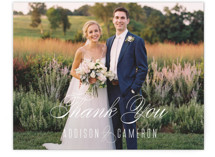 This is a blue wedding thank you card by Ink and Letter called Swoop with standard printing on signature in standard.