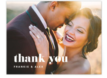 This is a black and white wedding thank you card by JoAnn Jinks called Letters with standard printing on signature in standard.