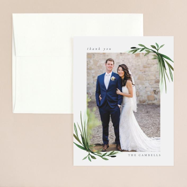 """Botanical Frame"" - Thank You Card in Fern by Kate Ahn."