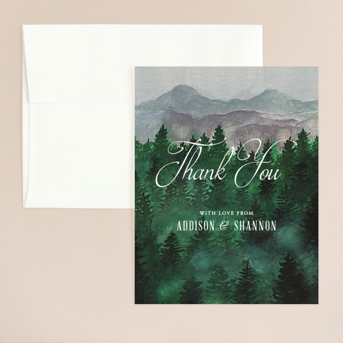 """""""Adventure Awaits"""" - Rustic Thank You Card in Smoke by Elly."""
