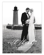 This is a black and white wedding thank you card by Jennifer Postorino called Delicate with standard printing on signature in standard.