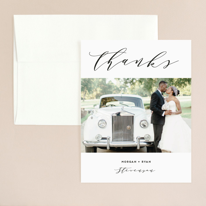 """Elegant Monogram"" - Thank You Card in Tuxedo by Simona Camp."