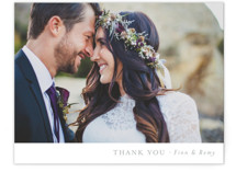 This is a grey wedding thank you card by Mere Paper called On the Slopes with standard printing on signature in standard.