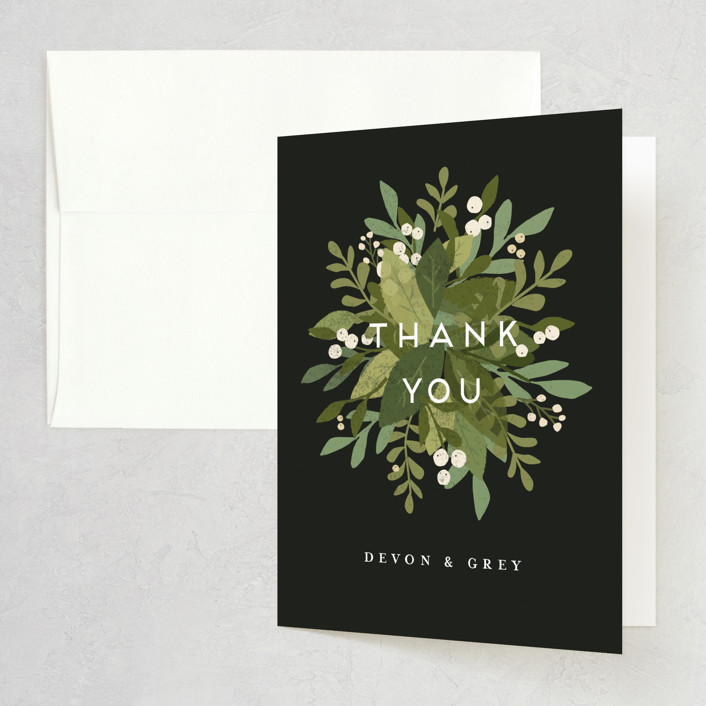 """""""Laurel of Greens"""" - Thank You Card in Midnight by Jennifer Wick."""