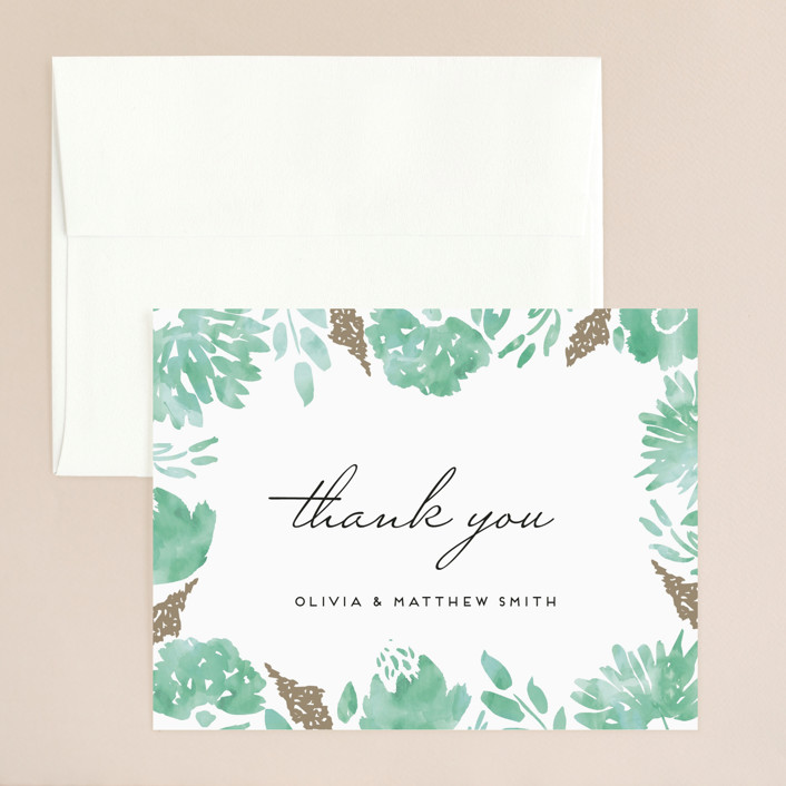 """Watercolor Delight"" - Floral & Botanical Thank You Card in Aqua by Petra Kern."