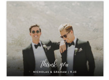 This is a black wedding thank you card by Cass Loh called Cacti with standard printing on signature in standard.