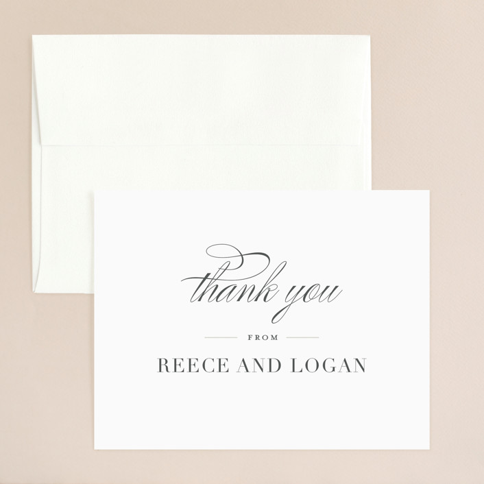 """Classical"" - Thank You Card in Taupe by Jessica Williams."