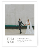 This is a white wedding thank you card by Amy Kross called Stacked date with standard printing on signature in standard.