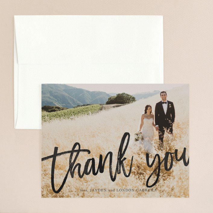 """""""blithe"""" - Thank You Card in Charcoal by Design Lotus."""