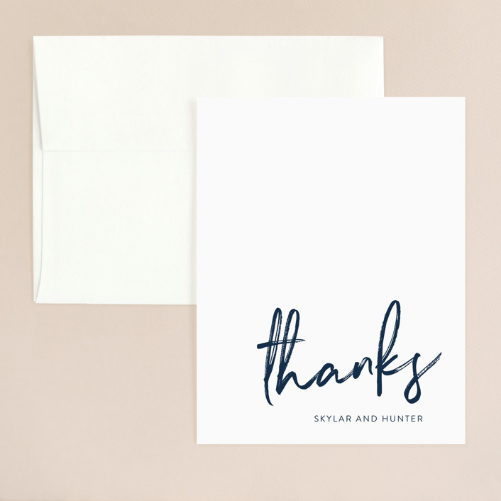 """""""Funky Names"""" - Thank You Card in Navy by Phrosne Ras."""