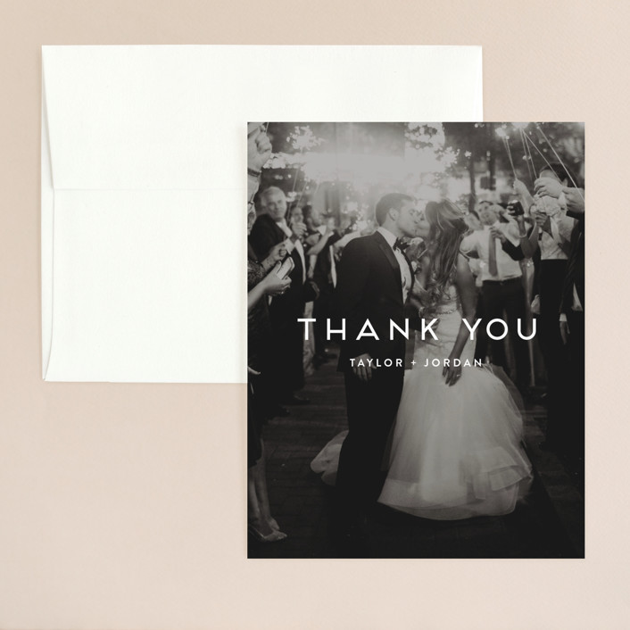 Modern Stamp Customizable Wedding Thank You Flat Card In Blue By Seulghi