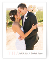 This is a pink wedding thank you card by Lea Delaveris called over and over with standard printing on signature in standard.