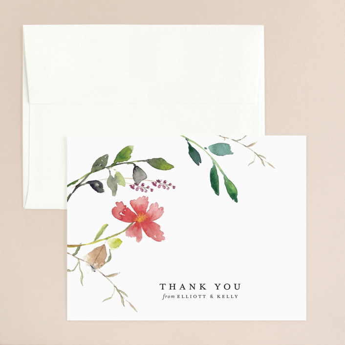 """Spring Wildflowers"" - Thank You Card in Floral by Mere Paper."