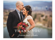 This is a blue wedding thank you card by Kimberly FitzSimons called Flawless with standard printing on signature in standard.