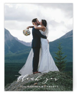 This is a blue wedding thank you card by Shirley Lin Schneider called Of the Sea with standard printing on signature in standard.