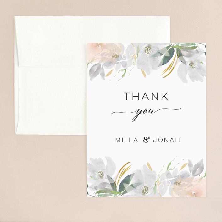 """Grande Botanique"" - Thank You Card in Mist by Bonjour Paper."