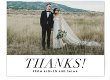 This is a black and white wedding thank you card by Amy Payne called Bad Dancing with standard printing on signature in standard.