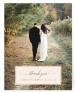 This is a grey wedding thank you card by Katharine Watson called Vintage Photo Frame with standard printing on signature in standard.
