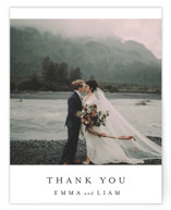 This is a grey wedding thank you card by Design Lotus called A Thousand Years with standard printing on signature in standard.