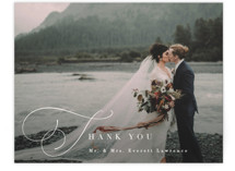 This is a white wedding thank you card by Hooray Creative called Flowing Initials with standard printing on signature in standard.