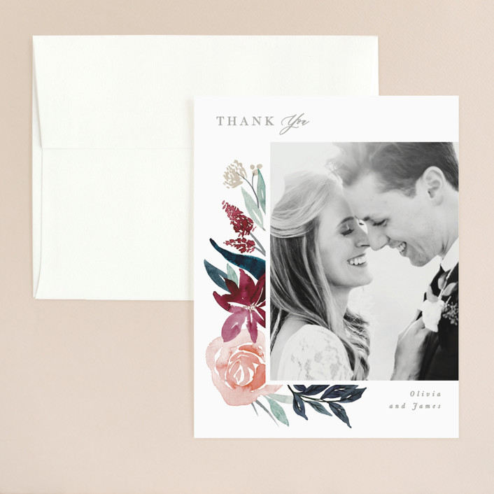 """Garden Stroll"" - Thank You Card in Burgundy by Creo Study."