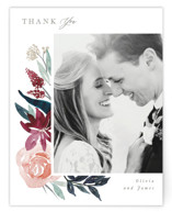 This is a red wedding thank you card by Creo Study called Garden Stroll with standard printing on signature in standard.