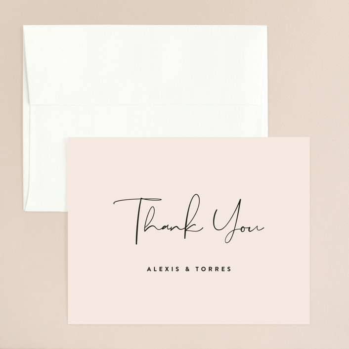 """Just the Two of Us"" - Thank You Card in Blush by Jennifer Wick."