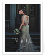 This is a black wedding thank you card by Carolyn MacLaren called In Love with standard printing on signature in standard.