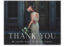 This is a black and white wedding thank you card by Hooray Creative called Namely with standard printing on signature in standard.