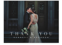 This is a black and white wedding thank you card by Jessica Williams called The Space Between with standard printing on signature in standard.