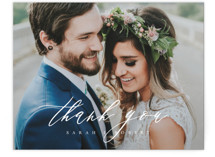 This is a white wedding thank you card by Kelly Schmidt called Corison with standard printing on signature in standard.