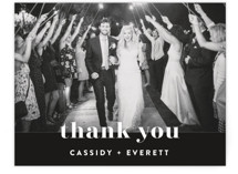 This is a black and white wedding thank you card by Christie Garcia called Key Ingredients with standard printing on signature in standard.