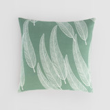 This is a green pillow cover by Katharine Watson called Sketched Willow.