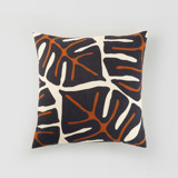 This is a black pillow cover by Iveta Angelova called Bold Monstera.