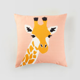 This is a pink pillow cover by Cass Loh called vibrant giraffe.