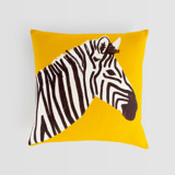 This is a yellow pillow cover by Cass Loh called vibrant zebra in standard.