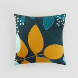 This is a blue pillow cover by Jaqui Falkenheim called Leafy forest.