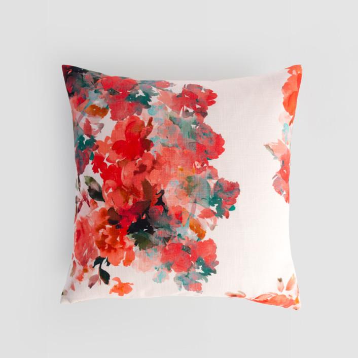 Floral Bouquet Textured Cotton Pillow Cover