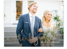 This is a brown wedding thank you card by Hooray Creative called Autumn Florals with foil-pressed printing on signature in standard.