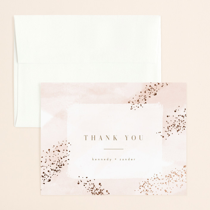 """Zara"" - Foil-pressed Thank You Card in Blush by Kristie Kern."